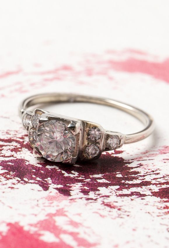 Graham is a simple, sparkly vintage Art Deco engagement ring from Trumpet & Horn! <3