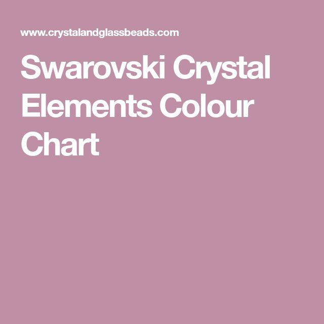 Swarovski Crystal Elements Colour Chart