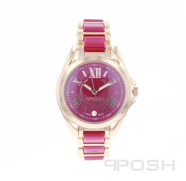 Fire - Watch - Rose Tone and Pink.  - Trendy roman numeral face design - Made with high quality hot pink acrylic and plated in rose gold tone - Face features exclusive POSH design - Bracelet and full casing made in stainless steel - Water resistant up to 5 ATM - Extra links available - Japanese movement  Dimensions Face: 30mm diameter   POSH by FERI - Passion for Fashion - Luxury fashion jewelry for the designer in you.  #Jewellery   #watches