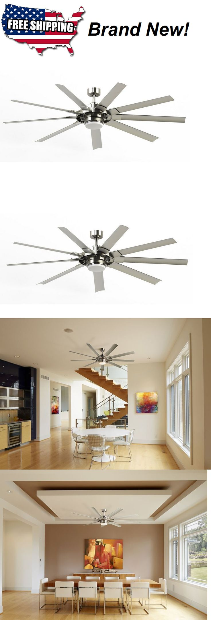 Emerson aira eco 72 inch oil rubbed bronze modern ceiling fan free - Ceiling Fans 176937 72 Brushed Nickel Downrod Mount Indoor Outdoor Ceiling Fan Led Light And