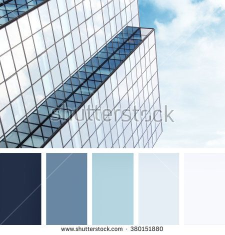 windows of a modern building.  colour palette swatches. pastel hues