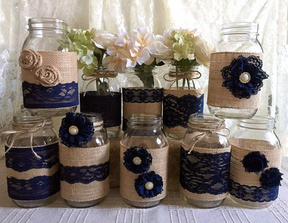 rustic burlap and navy blue lace covered mason jar vases wedding decoration, bridal shower, engagement, anniversary party decor