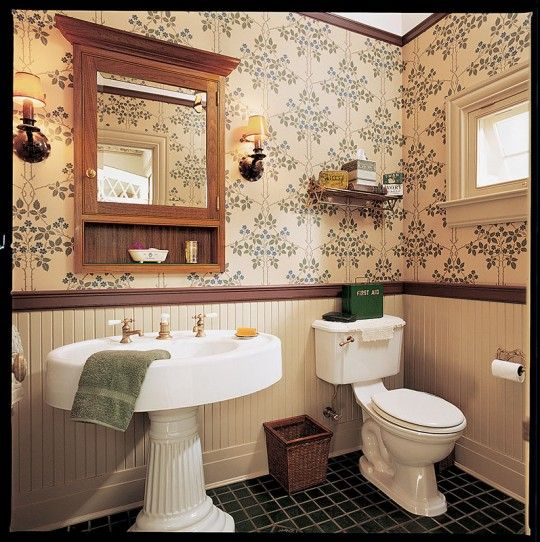 English Country Bathroom Designs: English Arts & Crafts Wallpaper And A Painted Wood