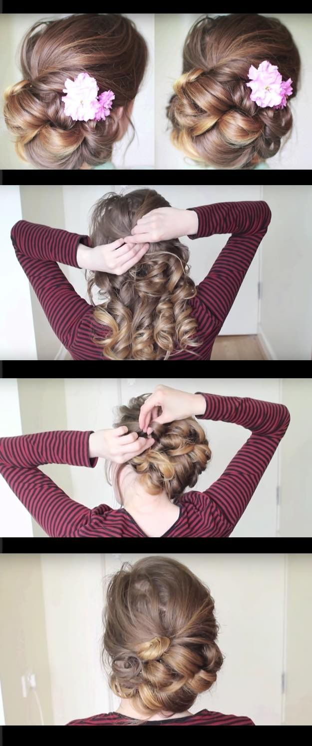 Quick and easy updo hairstyles pretty updo for medium long hair