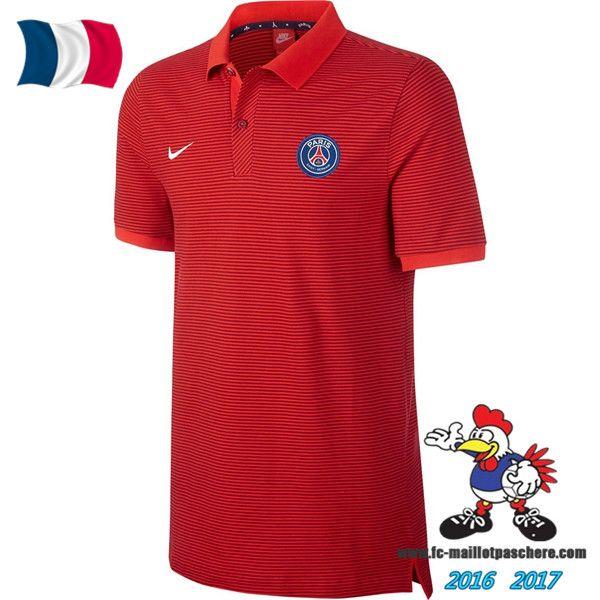 Promo Polo De Foot Paris Saint-Germain PSG Rouge 2016/2017 Pas Cher