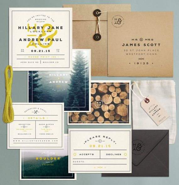 Camping Themed Wedding? Into The Woods? or just barn-login folk?!?!  Price Includes:  Invitation Rsvp Tie Kraft Mailing Envelope Rsvp Envelope