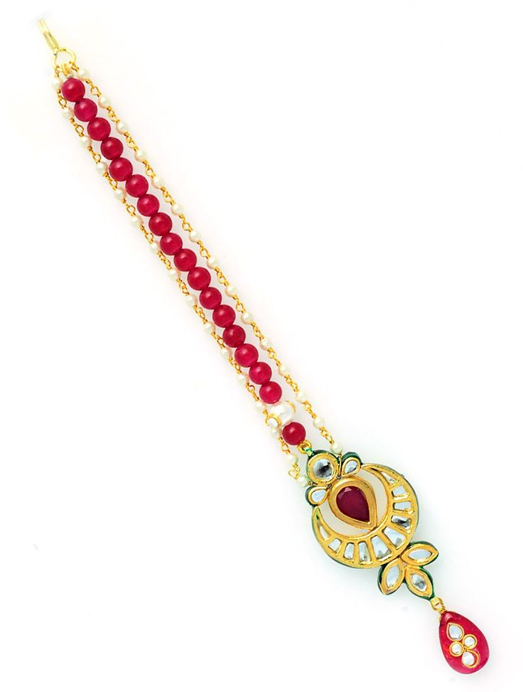 Buy latest and pretty Mangtika With Kundan Work And Strings Of Semi Precious Beads And Findings.