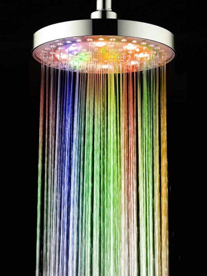 Color Changing Led Light Round Rain Bathroom Shower Head Led Shower Head Shower Heads Led Lights