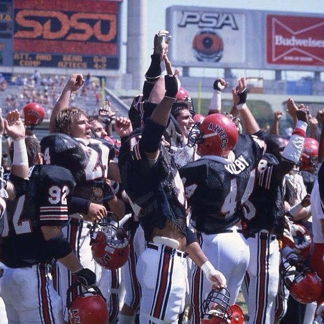 Is it football season yet? Today's #ThrowbackThursday takes us back to a post-game victory celebration in 1983. Go Aztecs!