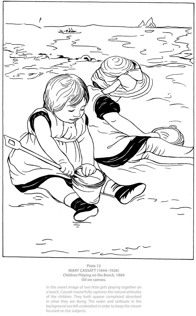 Colouring-in page - answers for samples from Dover Masterworks: Color Your Own Mary Cassatt Paintings' via Dover Publications ~s~