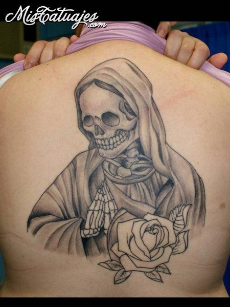 imagenes de la santa muerte para tatuajes 450 599 mis tatus pinterest. Black Bedroom Furniture Sets. Home Design Ideas