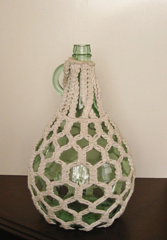 Large Vintage Macrame Wine Bottle With Loop Finger Handle One Gallon Clear Green Glass