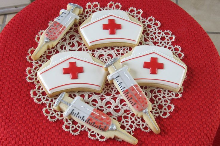 Nurse cookies, caps and syringes