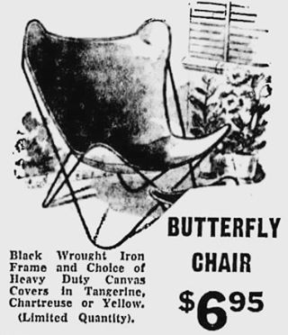 Vintage advertisement for the iconically shaped butterfly chair that continues to inˈspī(ə)r  pieces still produced by @target and @cb2. The original, which was easily copied and sold by thousands of retailers through the mid-20th century, was designed by Jorge Ferrari Hardoy in 1938 for Knoll. Knoll discontinued production in 1950 due to the inability to limit imitation. At the price, I'll take 300 please!  #midcentury #midcenturymodern #midcenturydesign #midcenturychair #jorgeferrarihardoy…
