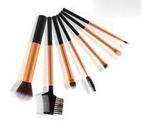 7 unids/lote pinceles de maquillaje profesional determinado llegada famosa marca de cepillo de pelo de cabra compone el kit de herramientas de cosméticos con tubo de aluminio