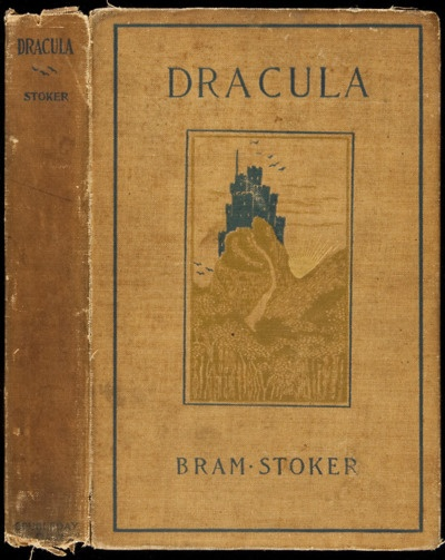 Dracula. Bram Stoker. New York, Doubleday  McClure Co., 1899. First American Edition.  The rare first American edition of this immortal classic and cornerstone of supernatural fiction. Cover art, with Dracula's castle high atop a hill with bats flying and the gilt-stamped sun setting. 7¼x5, original decorative tan cloth, front cover stamped and lettered in dark blue, gilt and green.
