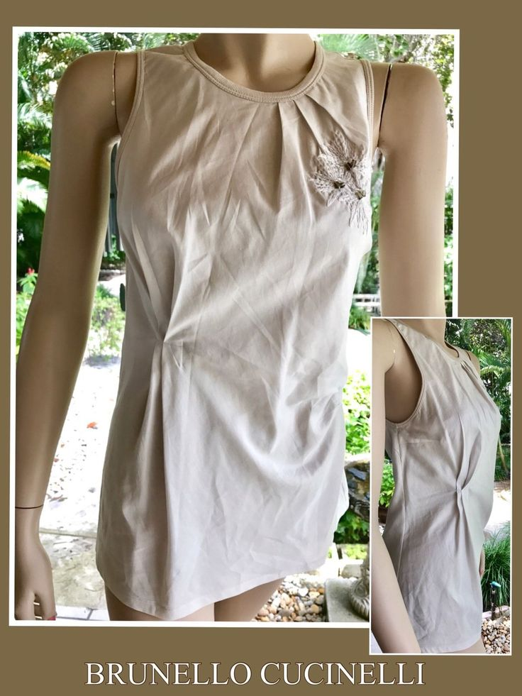 In good condition,minus one mark on front, as shown in pics, will most likely come out in the first cleaning. The neck is trimmed with knit like cotton, Pretty embroidered beaded trim on front. Pleated sides/waist. | eBay!