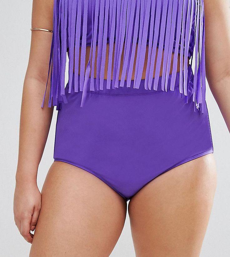 Monif C Purple High Waist Bikini Bottom - Purple