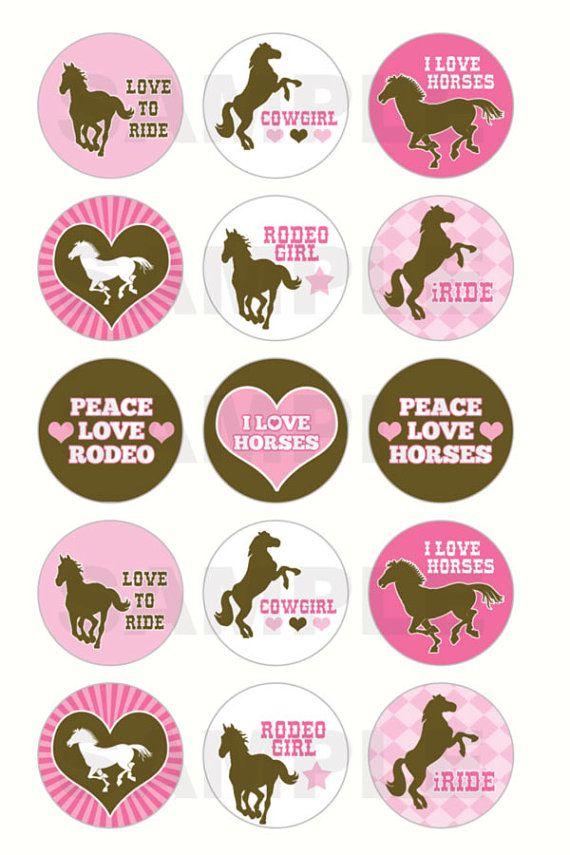 INSTANT DOWNLOAD  Love Horses Bottle Cap Images  4x6 by DigiPrintz, $1.25