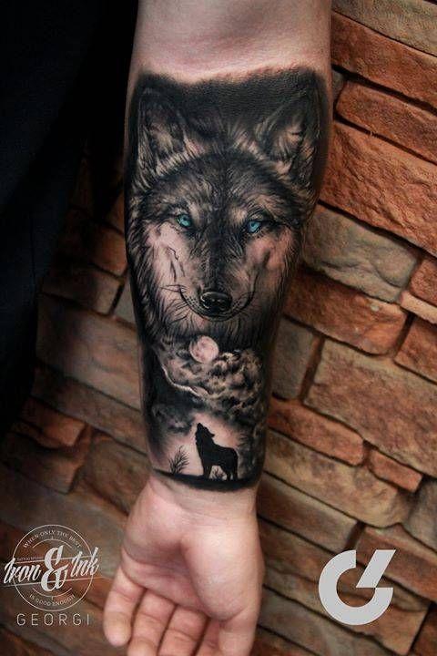 Black and grey style wolf tattoo on the left inner forearm. Tattoo artist: Georgi Kodzhabashev