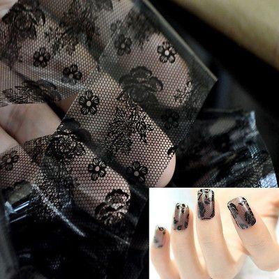 Vogue-3D-Black-Lace-Flower-Transfer-Foil-Stickers-Decals-Nail-Art-Decoration-DIY