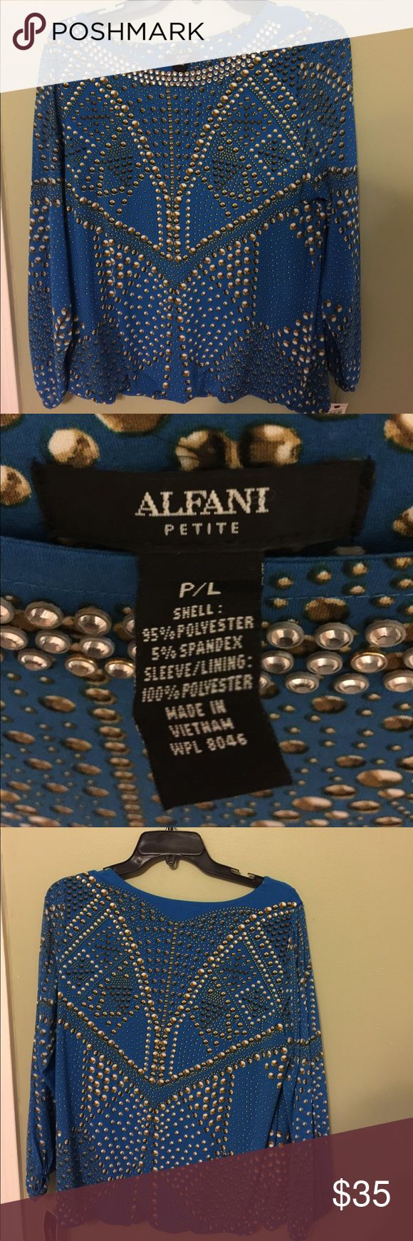 Blue Alfani Petite blouse Blue with brown dots creating a design. Neck area is lined with clear beads. Alfani Tops Blouses