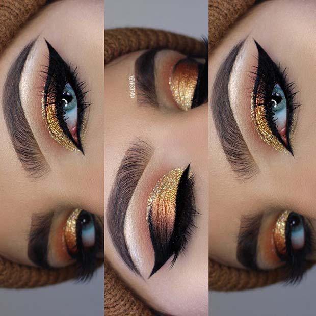 21 Makeup Ideas for Thanksgiving Dinner: #5. GORGEOUS GOLD GLITTER MAKEUP; #makeup