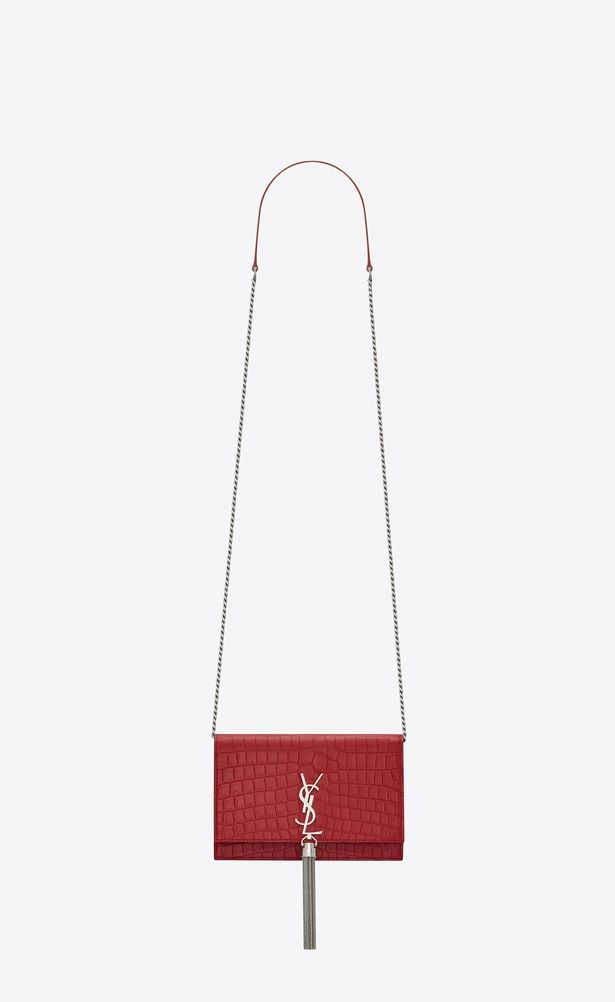 SAINT LAURENT Mini bags Kate Woman KATE chain and tassel wallet in red  crocodile-embossed leather a V4 0e1455025e295