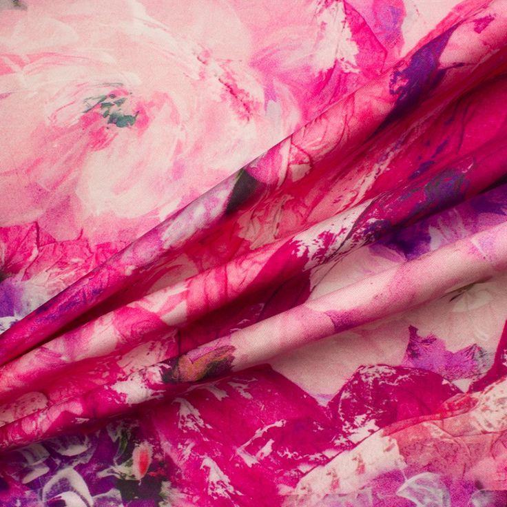 Designer Purple/Pink Floral Silk Zibeline (£159.90/metre) | Joel & Son Fabrics