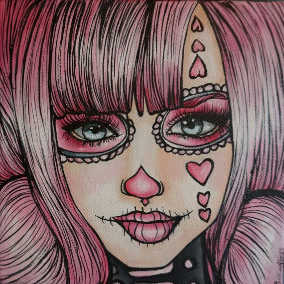 """Day of the Dead  STRETCHED CANVAS PRINT """" Cotton Candy""""  20 by 20   in Rockabilly Pin Up girl Hair Dia De Los Muertos  Lowbrow Tattoo art"""