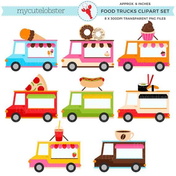 Food Trucks Clipart Set Clip Art Set Of Trucks Hotdog Etsy Clip Art Food Truck Art Set