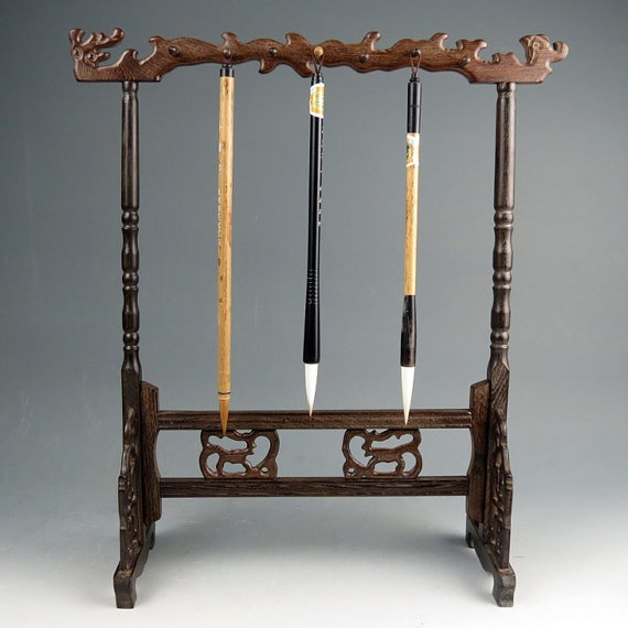 Chinese carved wood calligraphy brush stand by