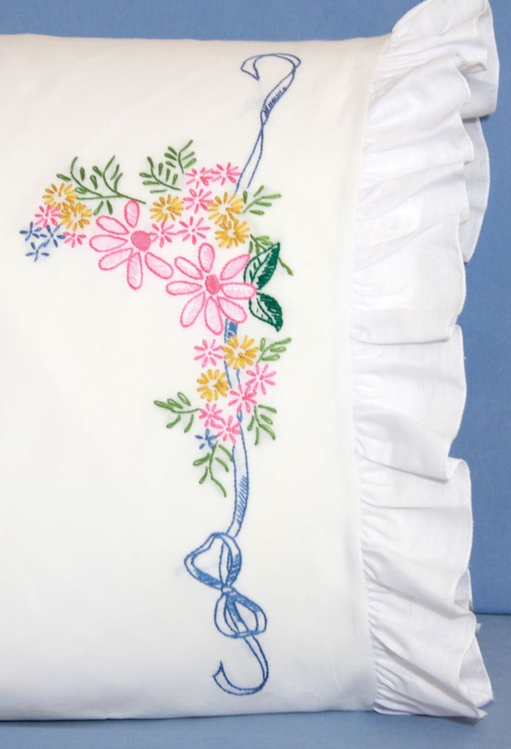 Fairway stamped embroidery ribbon flowers pillowcases