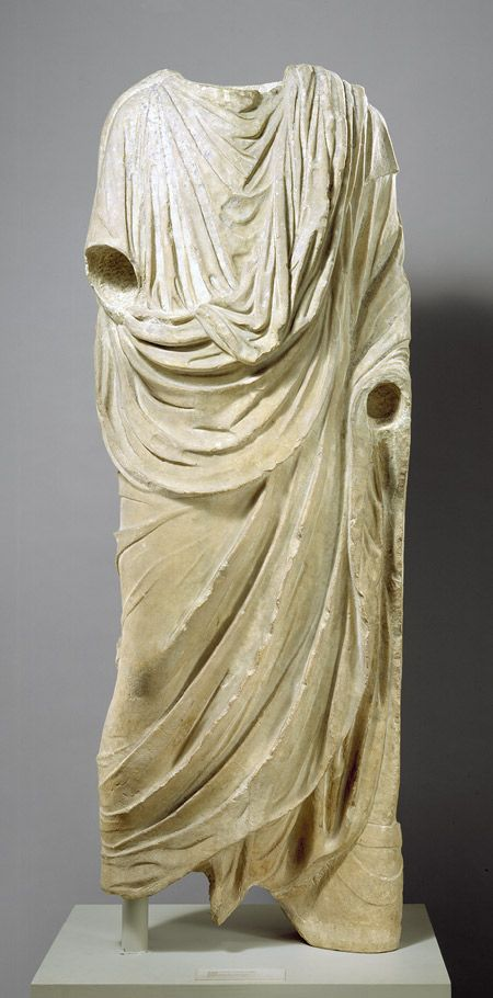 Statue of a togatus, ca. 14–9 B.C.; Augustan  Roman  Marble  H. 77 5/8 in. (1.97 m)  Gift of John D. Crimmins, 1904 (04.15)