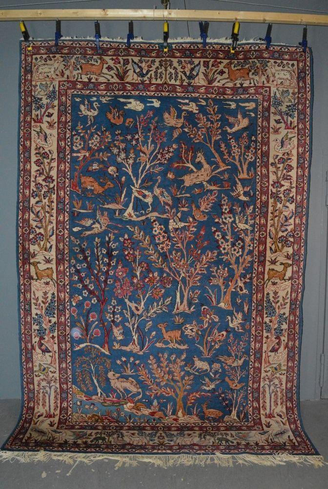 Blaugrundiger Orient Teppich mit Tier & Pflanzen Motiv sig. 327x202cm Wolle 21kg