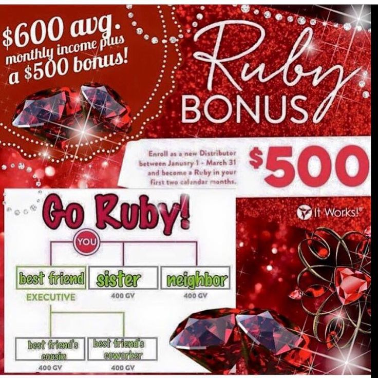 Only 34 days left to get in on the Ruby bonus. Start between now and March 31 and you will have 60 days to earn an extra $500. So if you like the idea of making extra money during the month for helping people improve there health while working with a solid team of like minded people than It Works may be for you. #123itsthateasy