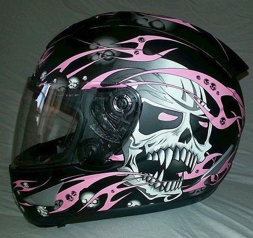 AFX Helmet (Women's Used Motorcycle Helmets, Black w/ Pink Skulls, Ladies Streetbike