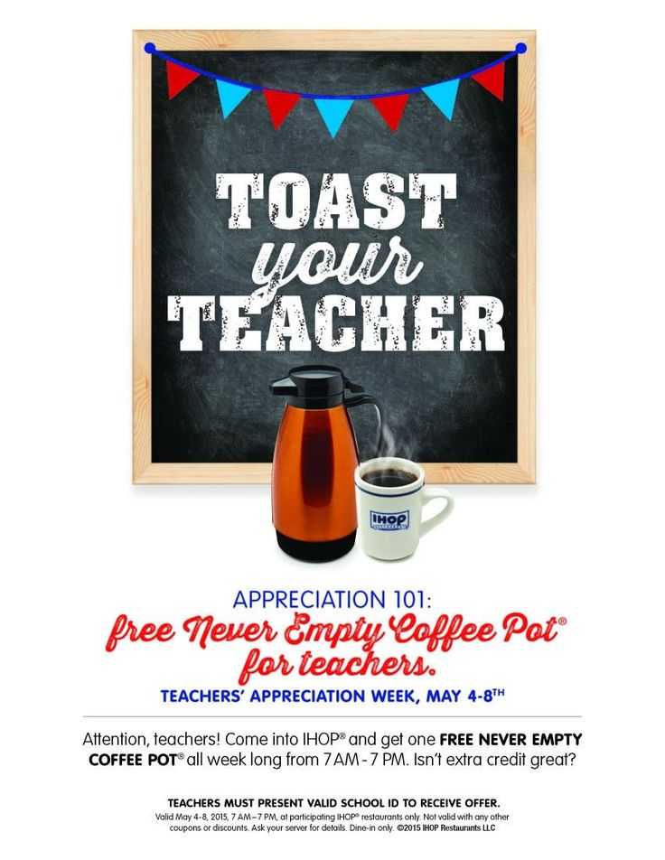 "Participating IHOP Restaurants in the Houston area are giving teachers ""extra credit"" this year during Teacher Appreciation Week, May 4-8. As a way of saying 'thank you' to all great teachers, IHOP Restaurants are inviting teachers to come in between 7 a.m. and 7 p.m. to enjoy a FREE Never Ending Coffee Pot. Additionally, the family-friendly restaurant is inviting students to show their appreciation by nominating their favorite teachers for ""best teacher"" and rewarding them with a free…"