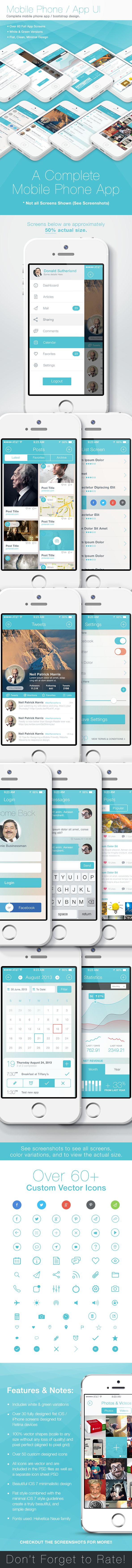 Flat iPhone iOS 7 - Mobile App Bootstrap UI by Joel Ferrell, via Behance