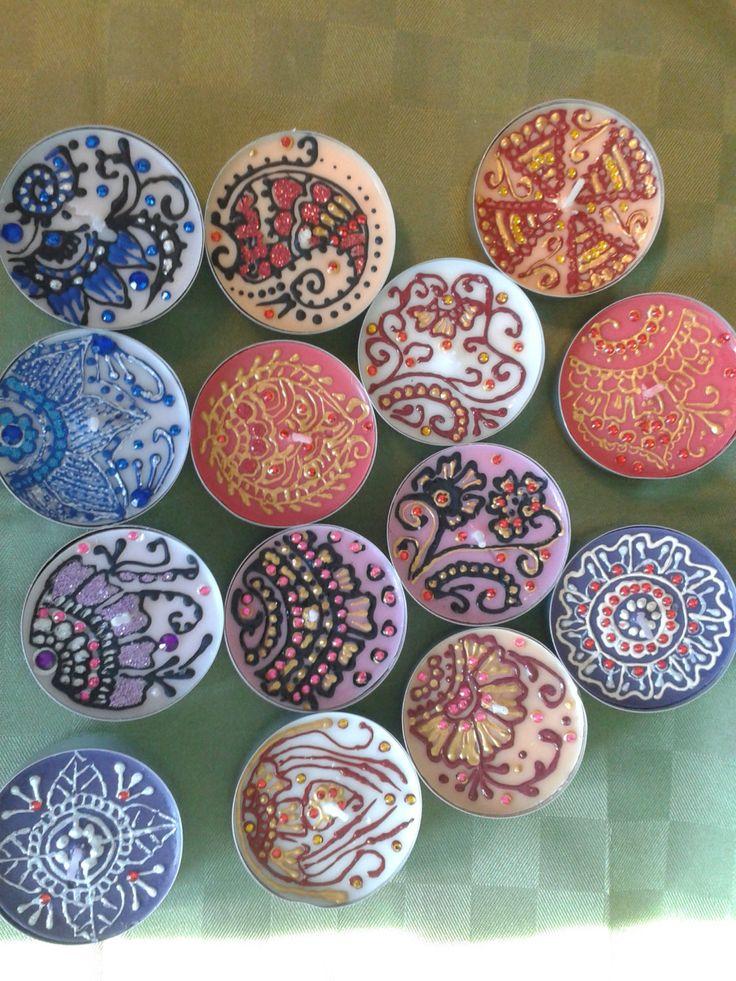 Henna design tealights,  henna Verona candles di scintilledicolore su Etsy