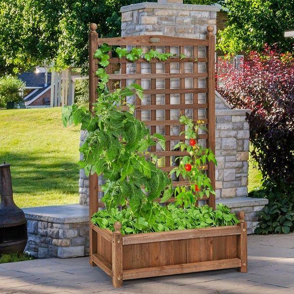 Costway Solid Wood Planter Box With Trellis Weather Resistant Outdoor 25 X11 X48 Dark Brown Planter Box With Trellis Wood Planters Planter Boxes