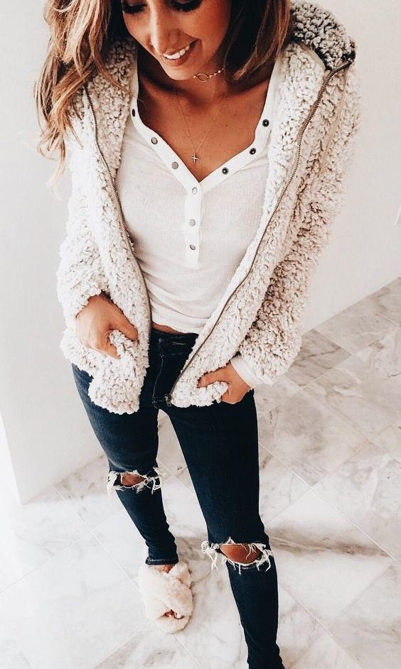 Sherpa zip up, ripped pants -  casual women's look