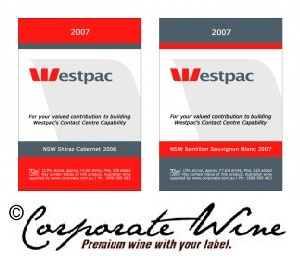 Custom Designed Labels created by Corporate Wine were made for wine gifts for  this business's valued associates.