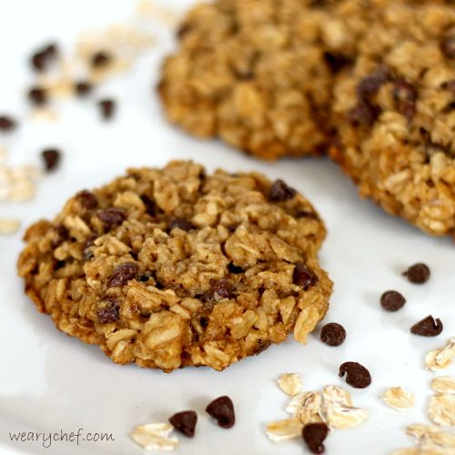 Flourless Cookies with Chocolate Chips and Oatmeal (and eggless too!) - The Weary Chef