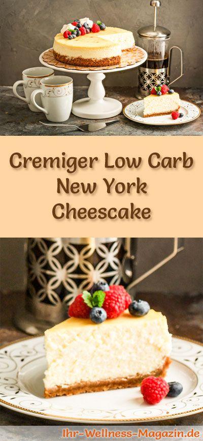 Rezept für einen cremigen Low Carb New York Cheescake: Der kohlenhydratarme, kalorienreduzierte Kuchen wird ohne Zucker und Getreidemehl zubereitet ...
