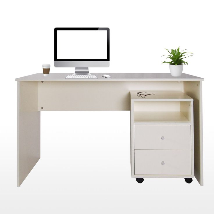 Milton Study Table with Drawer Cabinet Cream