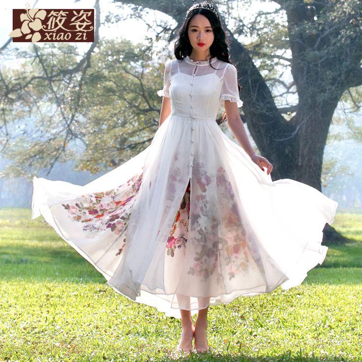 Xiao Zichen ceață de teatru de vară 2015 nou retro din două piese rochie rochie sifon - Zuru air Services