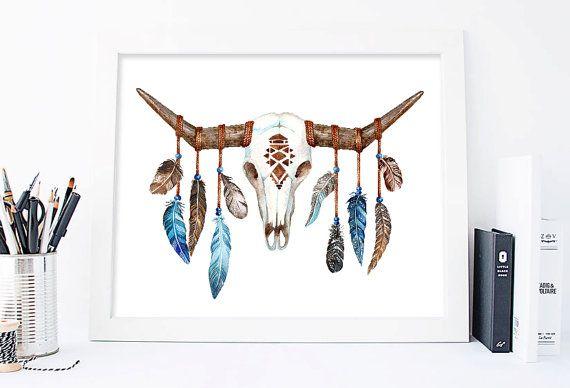 Bull hoofd Print, Bull Skull Print, koe horens, veren art, Boho schedel afdrukbare schedel Boho Wall Art, inheemse kunst, Tribal afdrukken, voor hem