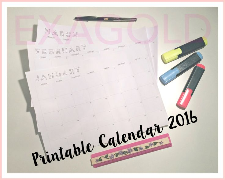Free printable calendar 2016!