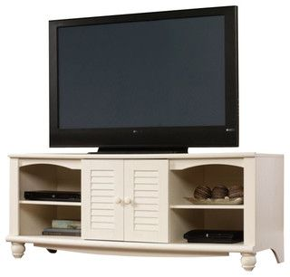 Sauder Harbor View Entertainment Credenza in Antiqued White - Transitional - Media Storage - by Cymax